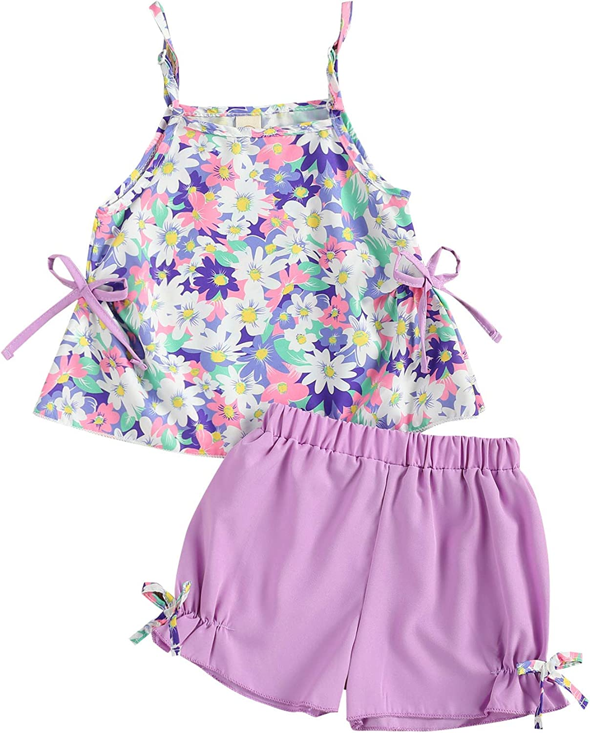 Toddler Girl Summer Outfit Clothing Set Daisy Flower Print Sleeveless Sling Tops + Shorts 2Pcs Clothes Suit