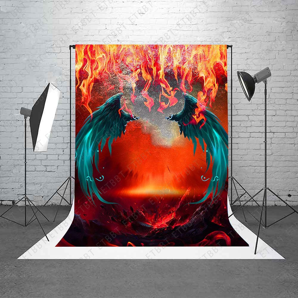 ETBBT 6x9FT Blue Wings Backdrop Photogr Mountains Flame Hell New product!! Super sale period limited Red