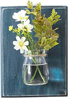 WOOD MEETS COLOR Hanging Vase, Creative Handcrafted Plant Pot Wall Potting, Flower Succulent Container, Home Decoration(Ocean Blue)