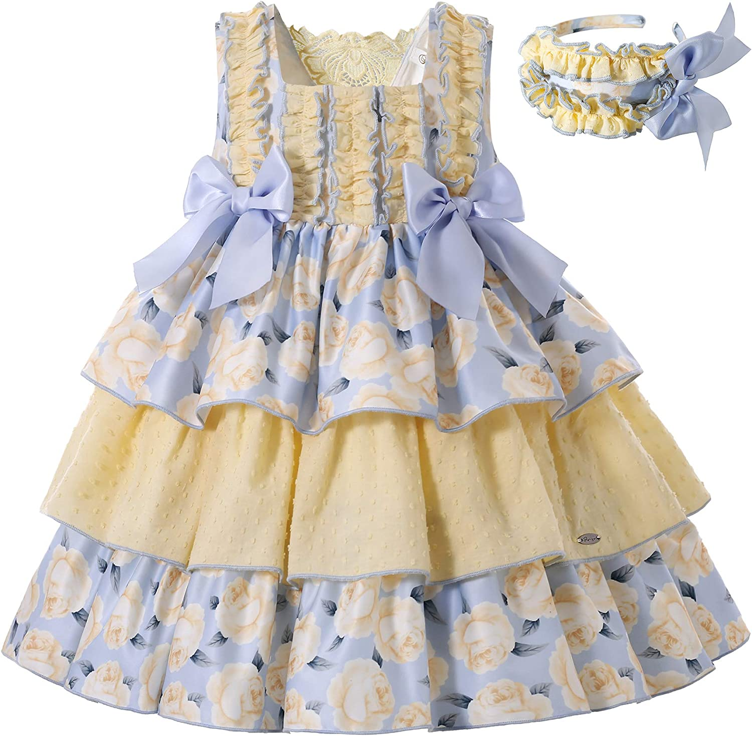 Pettigirl Girl Summer Yellow Cheap mail order specialty store Ceremony Quantity limited Sleeveless Vintage Floral