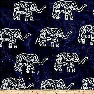 Textile Creations 0528119 Indian Batik Elephant Indigo Fabric by the Yard