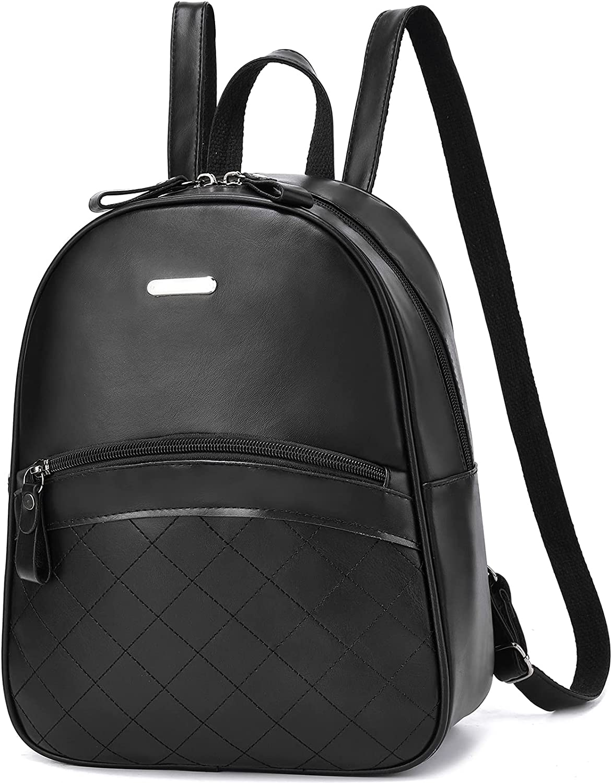 Girls Backpack Small Purse Travel Bag Mini Teenage Girls Purse PU Leather Daypack for Women Shoulder Bag Black