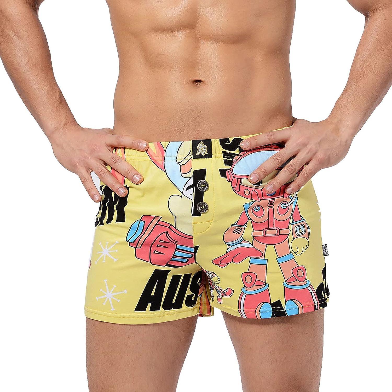 Teoecb Men's Underwear Briefs Boxer Shorts,Men's Cotton Underwear Casual Comfy Boxer Briefs Button Panties Print Underwear