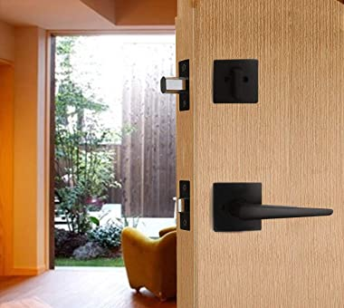 Double Door Handle Set with Dummy Inactive Handle Set for French Right and Left Hand Door (2011 Keyed & Dummy Set, Oil Ru