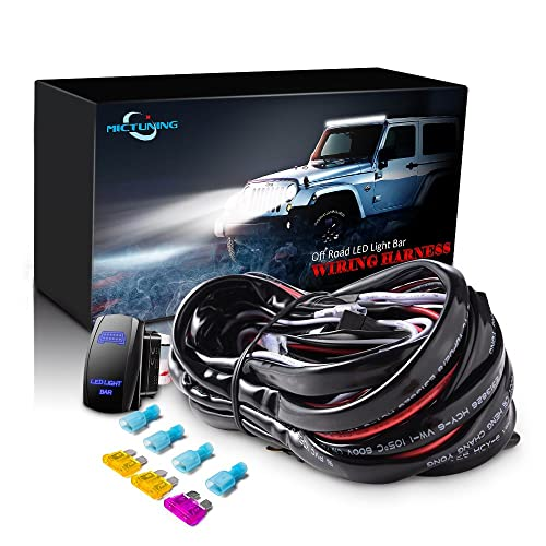 mictuning led light bar wiring harness fuse 40a relay on-off rocker switch  blue(
