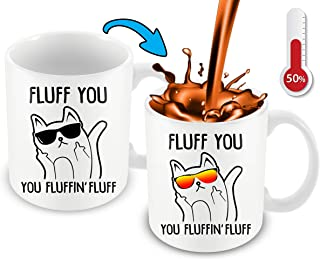 Heat Sensitive Color Changing Funny Coffee Mug - Fluff You Fluffin Fluff Middle Finger Coffee Mug | Cute Funny Cat Mug With Kitty Face With Changing Glasses Great Gift Idea For Cats Lovers