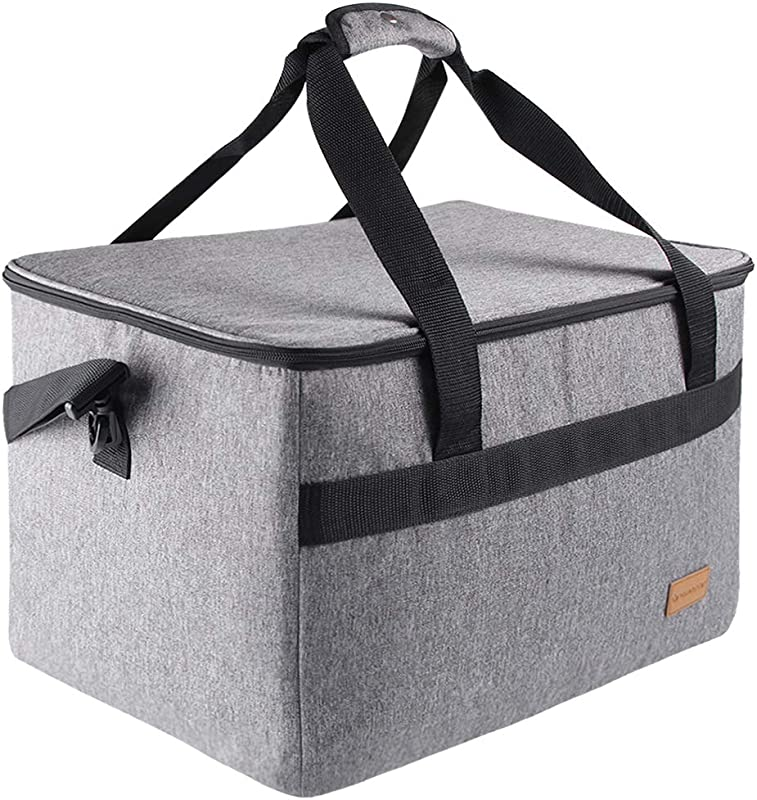 GROWNEER Insulated Food Delivery Bag Commercial Grade Thermal Carrier For Hot Or Cold Temperatures Perfect For Catering Or Any Food Transport Occasion 40 L Grey