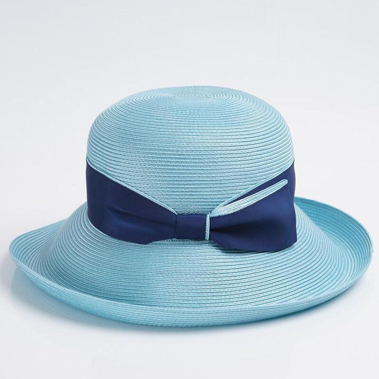 QZ Home Elegant Spring and Summer Ms Visor Daqi Sunhat Sun Predection Beach Hat (color   Aqua bluee)