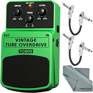 Behringer Vintage Tube Overdrive TO800 Effects Pedal and Accessory Bundle with 1/4
