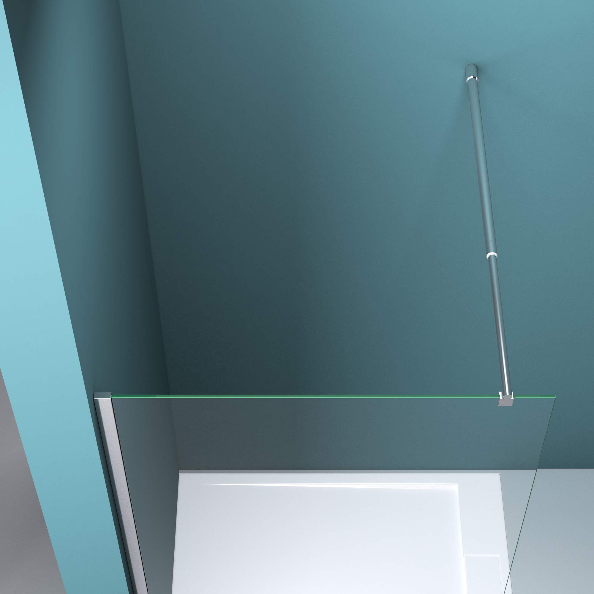 Mampara de ducha fija Bremen2MS, 10 mm de vidrio templado con rayas de cristal translúcido NANO, estabilizador, Blanco: Amazon.es: Bricolaje y herramientas
