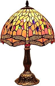 Bieye L30023 12 pulgadas Libélula Tiffany Style Vitral Lámpara de mesa con base de zinc, 18 pulgadas de alto