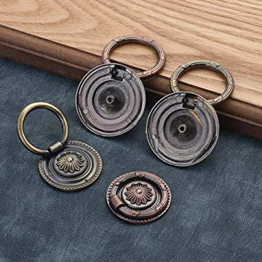 Jinyuanchao Drop Ring Handles Dresser Ring Pull Brass Oil-Rubbed Bronze 2 inch Diameter Cabinet Cupboard pulls Drawer Ring Ha