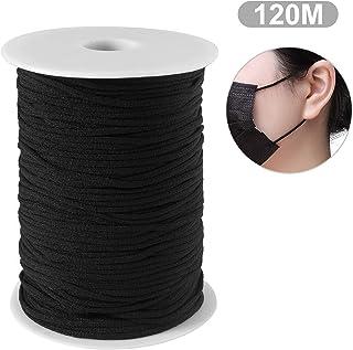 Maxee Schwarz 120M 3MM elastisches Band/DIY Seil/Bungee Gummiband Gummilitze Wäscheband Gummizug Flachgummi Ideal für Masken