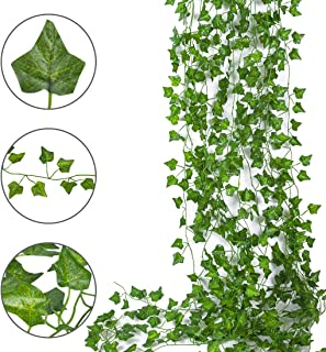 Topico 12 Strands 84 Ft Artificial Ivy Leaf Plants Vine Hanging Garland Fake Foliage for Wall Party Wedding Room Home Kitchen Indoor & Outdoor Decoration