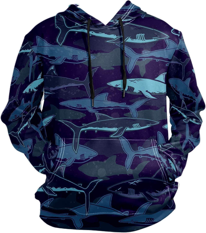 Men's Sport Hoodie Ocean Shark Sea Fish Big and Tall Hoodies for Men Women Oversized Hooded Sweatshirt Hip Hop Pullover Hoodie Midweight Hood for Boys Girls