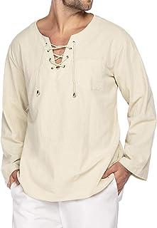COOFANDY Mens Fashion T Shirt Cotton Linen Tee Hippie Shirts V-Neck Yoga Top