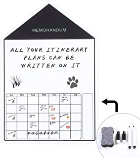 Dry Erase Calendar Whiteboard for Refrigerator Magnetic Shopping List Schedule for Kitchen Fridge Included Pens and Eraser (Small House)