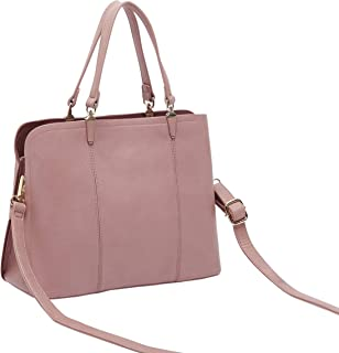 Shoexpress Textured Tote Bag with Detachable Strap and Zip Closure