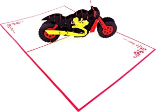 Motorcycle Pop up Card, 3D Card for All Occasions - Happy Birthday, Graduation, Congratulations, Retirement, Anniversary, Fathers Day, Mothers Day | Pop Card Express