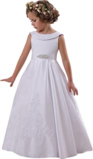 Elegant O-Neck Sleeveless A-Line Stain Party Wedding Dresses for Girls 2-12 Year Old