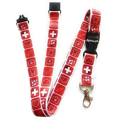 Cordon tour de cou Spirius avec clip en métal solide pour support de badge d'identification, support pour clés red medical