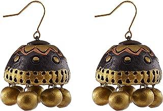 Terracotta Jhumki Hanging Earrings earingss Stud Ear-Rings jhumka jhumki Ear Piece s Jhb0004 for Women (Black) Indian Terracota Jewellery