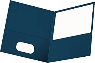 Oxford Twin-Pocket Folders, Textured Paper, Letter Size, Blue, Holds 100 Sheets, Box of 25 (57502EE)