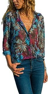 MogogoWomen Slim-Fit Button-up Long-Sleeve Plus-Size Painting T-Shirt Top