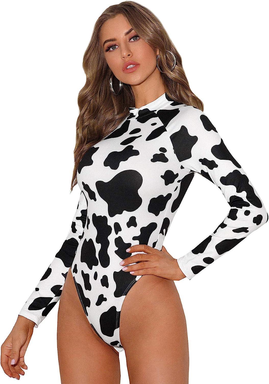 Romwe Women's Cow Print Mock-Neck High Leg Casual Bodysuit Jumpsuit Tops