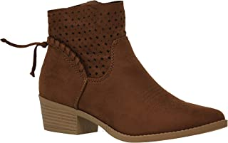 MVE Shoes Women's Chunky Heel Strappy Almond Toe Ankle Bootie