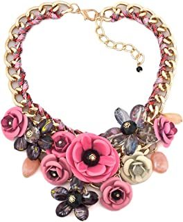 LovelyCharms Flower Floral Statement Necklace Chunky Pendant