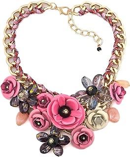 ReisJewelry Chunky Flower Bubble Bib Boho Collar Statement Necklace for Womens Girls Party Jewelry