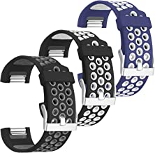 SKYLET Compatible with Fitbit Charge 2 Bands Men Women, 3-Pack Soft Sport Silicone Wristbands with Metal Buckle for Charge...