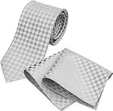 (グランクレエ) Grancreer 日本製 結婚式に着けるべきネクタイ&チーフセット (ブロックチェック) [ふじやま織] [MADE IN JAPAN]