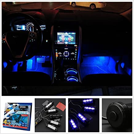 Yking New 12V 4 LED Blue Car Auto Interior Light Atmosphere Light Decoration Lamp