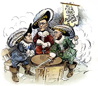 Cartoon Union Party 1936 NThe Three Musketeers Contemporary American Cartoon Portraying New Deal Critics Gerald LK Smith F...