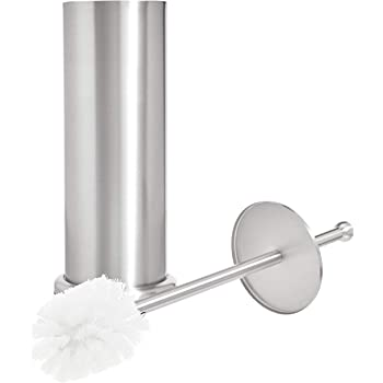 Cook N Home Stainless Steel Step Trash Can//Bin and Toilet Brush with Holder Set Round Neway International Housewares NC-00323 7 Liter
