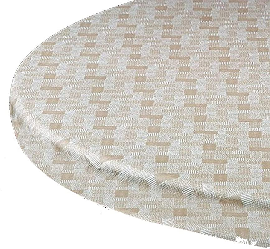 Elastic Edge Round Fitted Vinyl Tablecloth Fit 46 To 60 Tan Basketweave