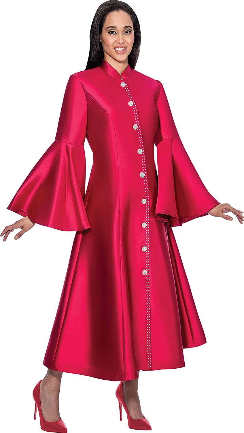 0f504f43744 Plus Size Elegant Church Robe Featuring Rhinestone Buttons and Trim Detail  Mandarin Collar and Flared Sleeves