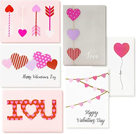 Best Paper Greetings 12-Pack Handmade Greeting Cards for Valentine's Day and Anniversary with 6 Unique Heart Love Designs, 5 x 7 Inches