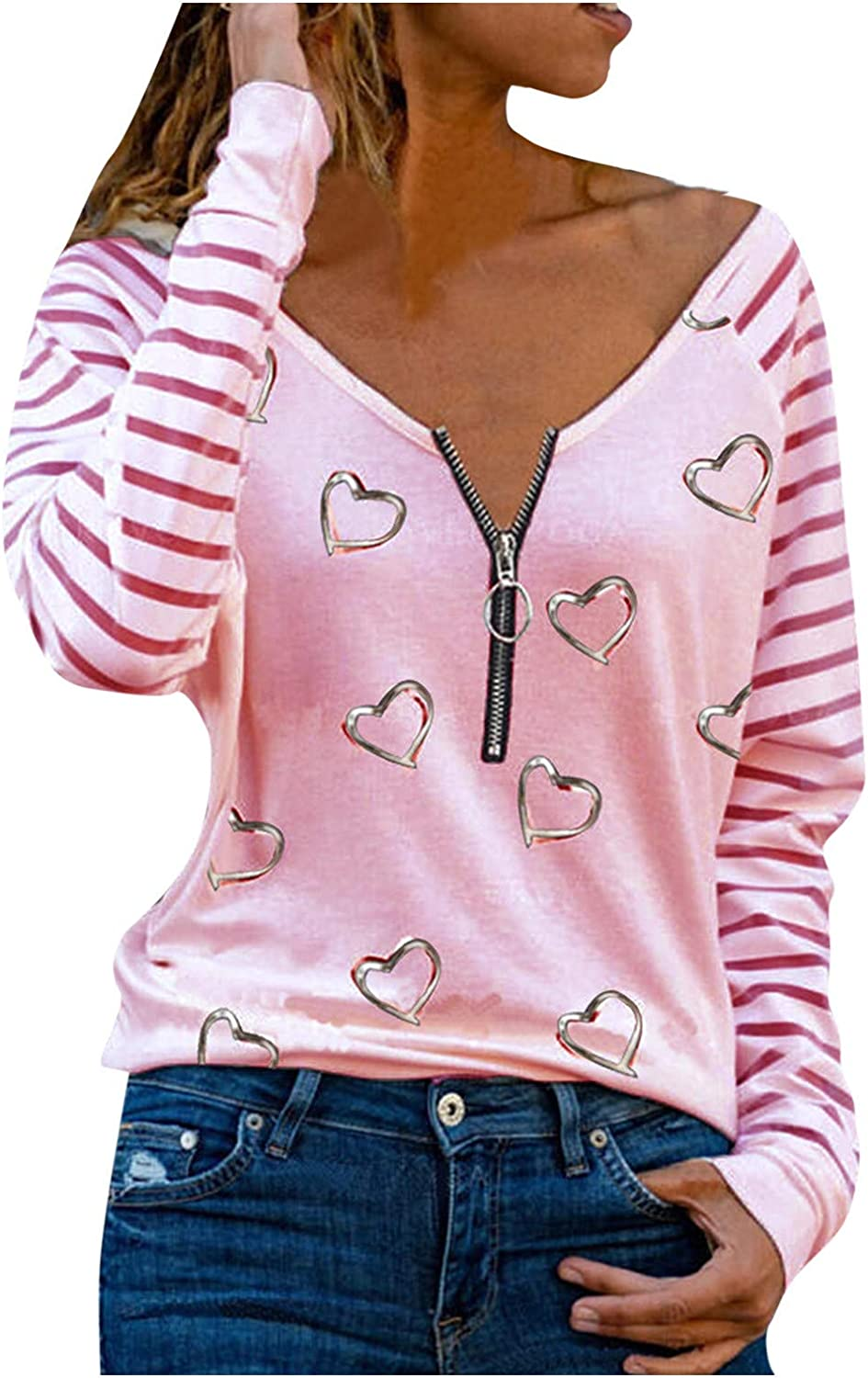PMUYBHF Women T-Shirts Tunics Blouses Heart V Neck Embroidery Knit Loose Casual Long Sleeve Ribbed Pullover Sweaters