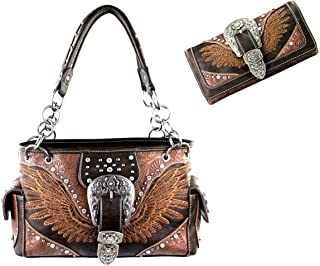 Buckle Wings Concealed Carry Purse Wallet Set (BROWN)