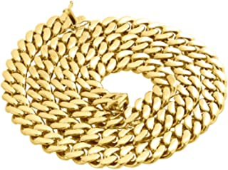 """Men's Miami Cuban 7mm Necklace in 14k Yellow Gold Chain 24"""" and 26"""""""