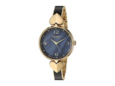 Kate Spade New York Hollis Black Enamel Stainless Steel Bangle Watch KSW1563 (Gold) Watches