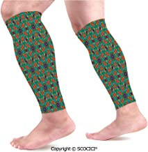 Flexible Breathable Comfortable Leg Skin Protector Sleeve Living Room Decor for India Ethnic Design Lovers Floral Print Calf Compression Sleeve