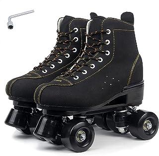 Classic Quad Skates Women Men Premium Leather Lined Rink Roller Skate Double Row Skates, Black