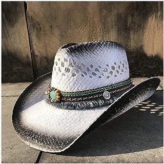 e75f83c6 Sombrero de vaquero occidental de paja, Hombres Womem de verano Vaquera  Fedora Jazz Hat Playa
