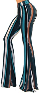 Women's USA Boho Solid Hippie Wide Leg Flared Bell Bottom Pants