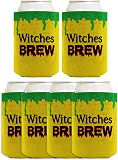 Funny Halloween Beer Coolie Witches Brew Potion Cauldron Witch Costume Accessory 6 Pack Can Coolie Drink Coolers Coolies Brew