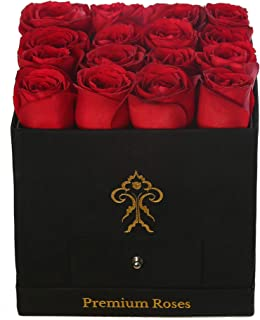 Premium Roses| Real Roses That Last a Year | Fresh Flowers| Roses in a Box (Black Box, Medium)